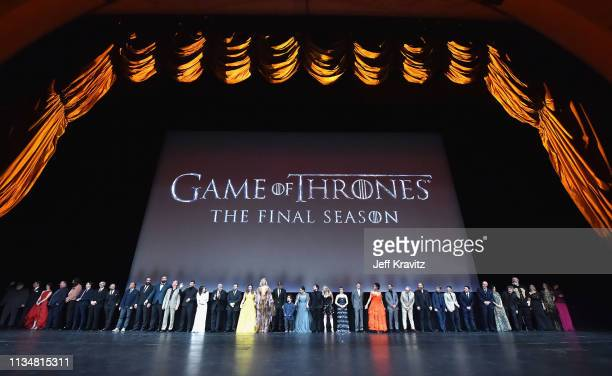 Game of Thrones cast members gather onstage during the Game Of Thrones Season 8 NY Premiere on April 3 2019 in New York City
