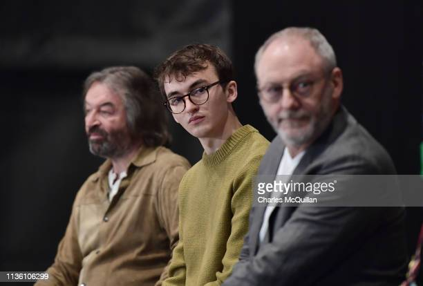Game of Thrones cast members Ian Beattie , Isaac Hempstead Wright and Liam Cunningham attend the Game Of Thrones: The Touring Exhibition press...