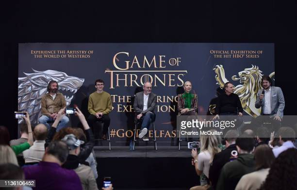 Game of Thrones cast members Ian Beattie , Isaac Hempstead Wright and Liam Cunningham alongside costume designer Michele Clapton , Jeff Peters of HBO...