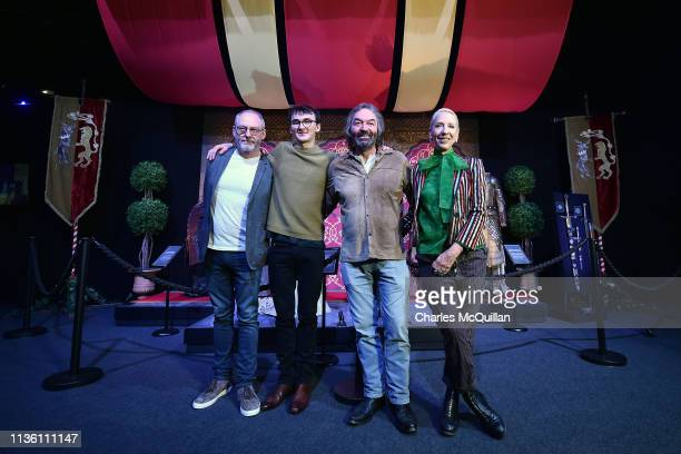 Game of Thrones cast members Ian Beattie , Isaac Hempstead Wright and Liam Cunningham alongside costume designer Michele Clapton attend the Game Of...