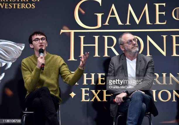 Game of Thrones cast members Isaac Hempstead Wright and Liam Cunningham attend the Game Of Thrones: The Touring Exhibition press conference at...