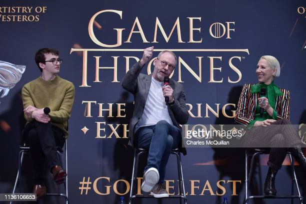 Game of Thrones cast members Isaac Hempstead Wright and Liam Cunningham alongside costume designer Michele Clapton attend the Game Of Thrones: The...