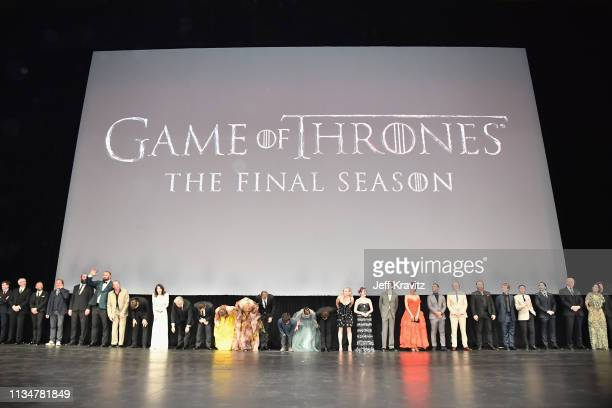 Game of Thrones cast members take a bow onstage during the Game Of Thrones Season 8 NY Premiere on April 3 2019 in New York City