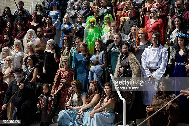 Game of Thrones cosplayers gather for a photo at the San Diego Convention Center during Comic Con International 2016