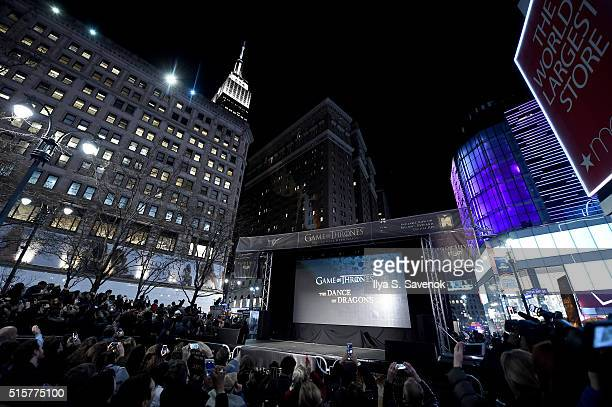 """Game of Thrones"""" fans attend """"Game of Thrones"""": The Complete Fifth Season DVD/Blu-Ray Fan Screening at Herald Square on March 15, 2016 in New York..."""