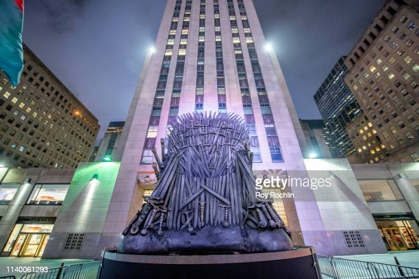 Game Of Thrones Iron Throne Appears In Rockefeller Center Ahead Of Premiere at Rockefeller Plaza on April 02 2019 in New York City