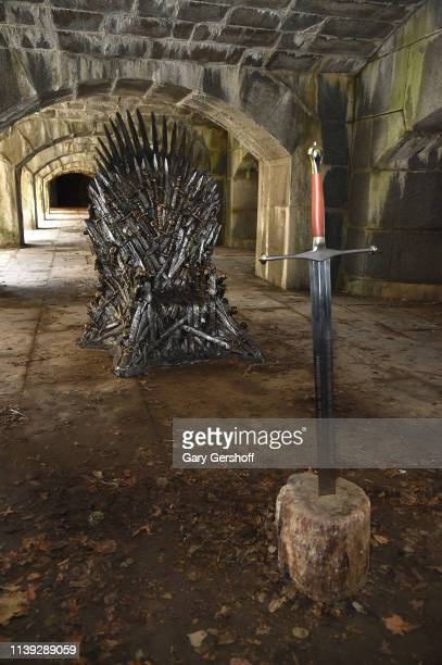 A Game Of Thrones iron throne replica appears in Queens ahead of final season at Fort Totten Park on March 30 2019 in New York City