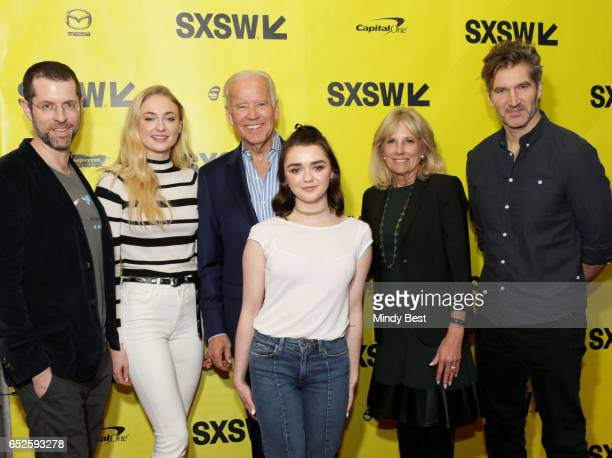 'Game of Thrones' writer/director producer DB Weiss actress Sophie Turner Vice President Joe Biden actress Maisie Williams Dr Jill Biden and...