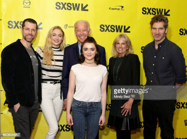 Game of Thrones writer/director producer DB Weiss actress Sophie Turner Vice President Joe Biden actress Maisie Williams Dr Jill Biden and...
