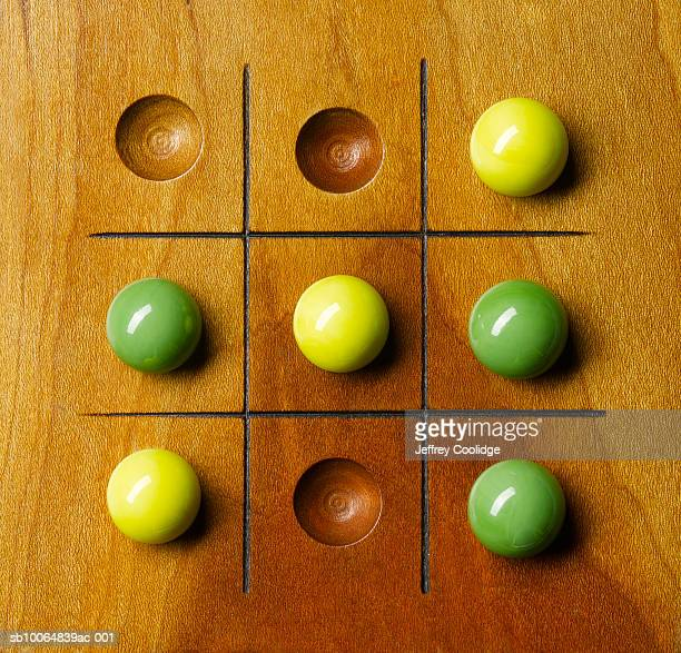 Game of tic, tack, toe with marbles