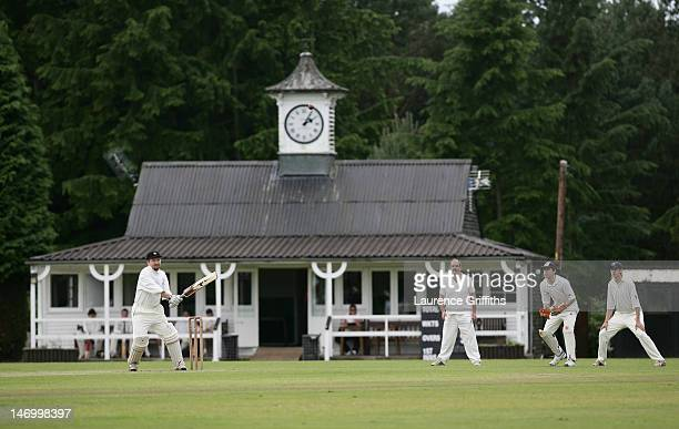 A game of village cricket is played at Marchwiel Cricket Club on July 12 2008 in Marchwiel Wales