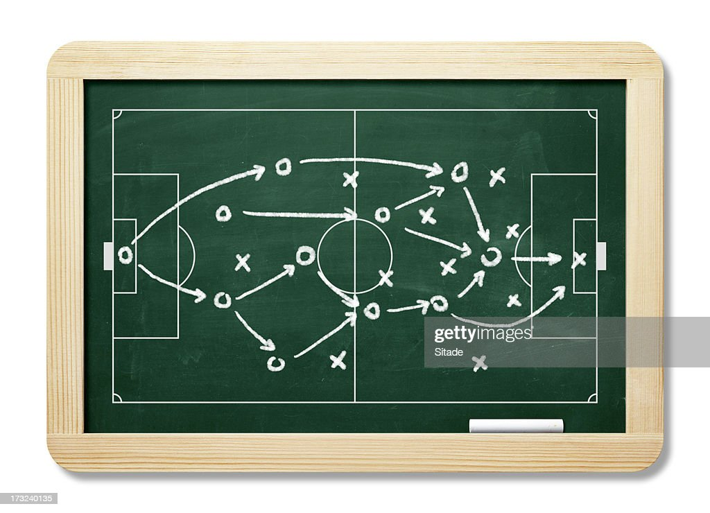Game Plan On Blackboard With Clipping Path : Stock Photo