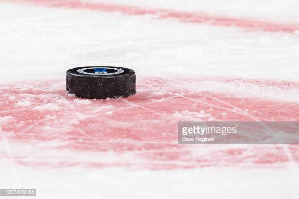 Game puck sits on the ice on a play stoppage during the second period of the annual NCAA hockey game between the Michigan Wolverines and the Michigan...