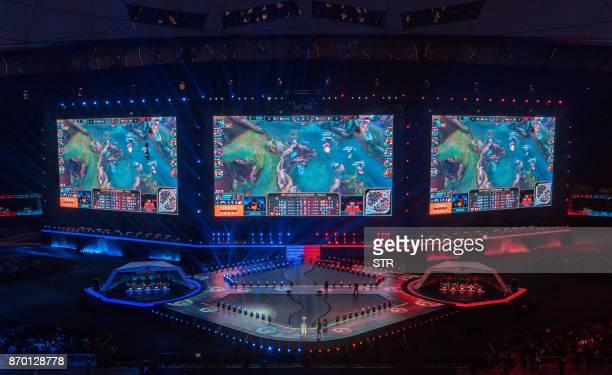 Game screen of League of Legends is seen on screens during the World Championships Final of League of Legends at the National Stadium 'Bird's Nest'...