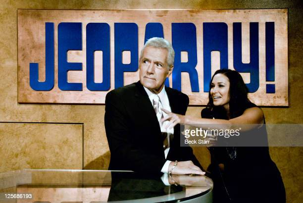 TV game show host Alex Trebek is interviewed at the 'Jeopardy' Hall of Fame Sony Pictures Studios tour ribbon cutting ceremony at Sony Pictures...