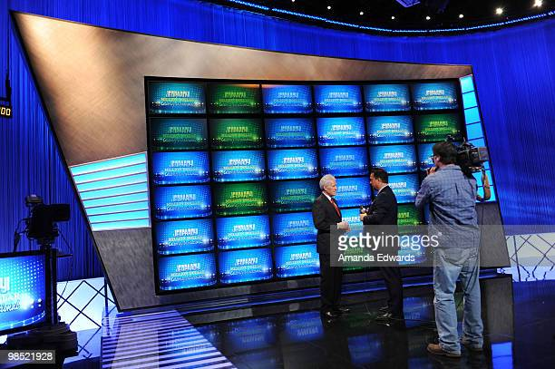 Game show host Alex Trebek is interviewed on the set of the Jeopardy Million Dollar Celebrity Invitational Tournament Show Taping on April 17 2010 in...