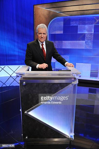 Game show host Alex Trebek poses on the set of the Jeopardy Million Dollar Celebrity Invitational Tournament Show Taping on April 17 2010 in Culver...