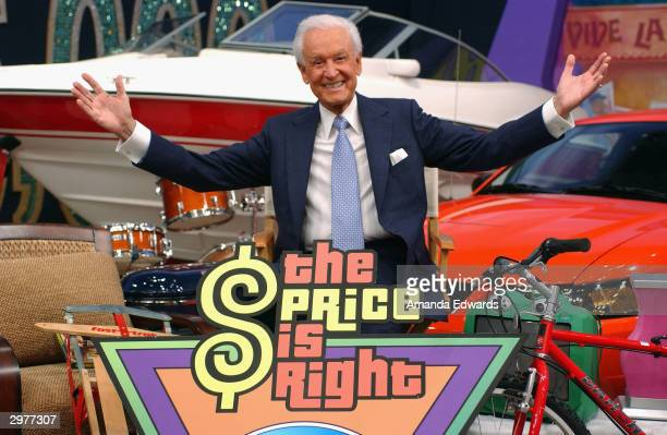 Game show host Bob Barker poses amongst a sea of prizes at the Price is Right 6000th show taping on February 12 2004 at the CBS Television Studio in...
