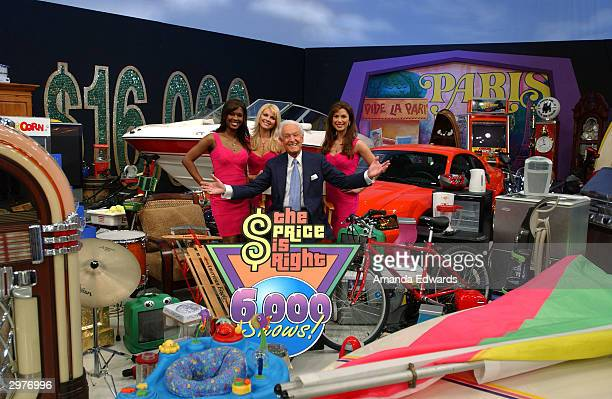 """Game show host Bob Barker poses with the """"Barker's Beauties"""" Lanisha Cole, Shane Stirling and Brandi Sherwood at the """"Price is Right"""" 6,000th show..."""
