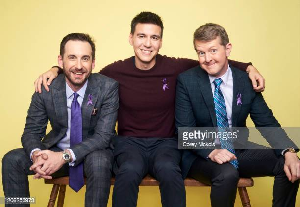 TV game show host Brad Rutter of Jeopardy is photographed with contestants Ken Jennings and James Holzhauer for TV Guide magazine on January 8 2020...