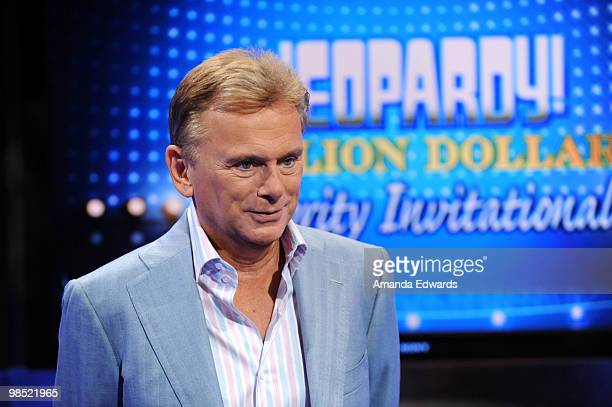 """Game show host Pat Sajak is interviewed on the set of the """"Jeopardy!"""" Million Dollar Celebrity Invitational Tournament Show Taping on April 17, 2010..."""
