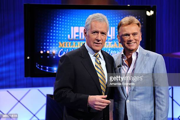 Game show hosts Alex Trebek and Pat Sajak pose on the set of the 'Jeopardy' Million Dollar Celebrity Invitational Tournament Show Taping on April 17...
