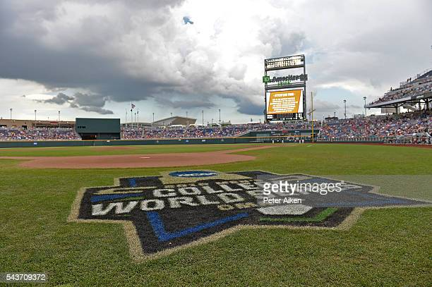 Game three of the College World Series Championship Series between the Arizona Wildcats and the Coastal Carolina Chanticleers is under a weather...