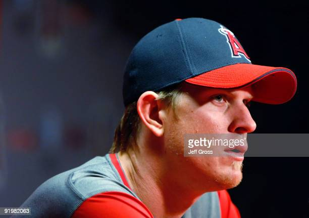 Game three starting pitcher Jered Weaver of the Los Angeles Angels of Anaheim addresses the media during an offday press conference part of the ALCS...