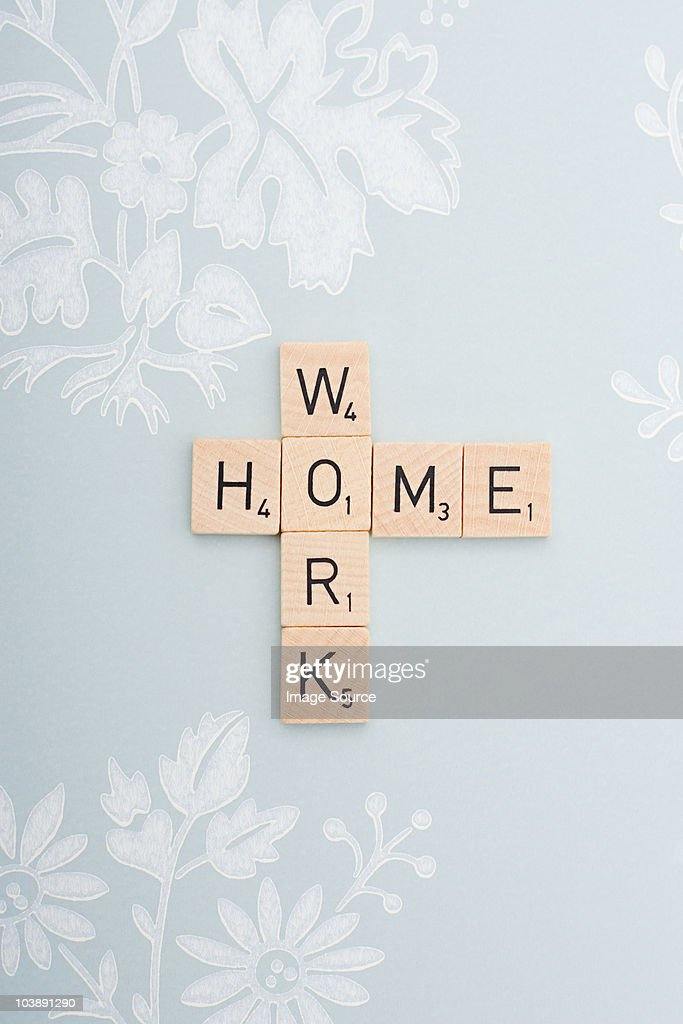 Game tiles spelling work and home : Stock Photo
