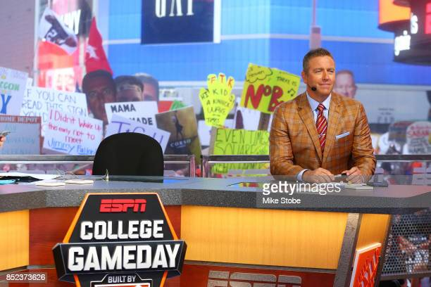 GameDay host Kirk Herbstreit is seen during ESPN's College GameDay show at Times Square on September 23, 2017 in New York City.