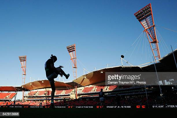 200 gamer Bryce Gibbs of the Blues warms up before the round 14 AFL match between the Greater Western Sydney Giants and the Carlton Blues at Spotless...