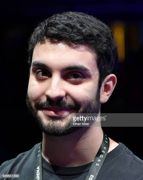 Gamer Maurilio 'Blind' Gramajo of California waits to be interviewed after he won his second straight match of 'Fortnite' while playing against...