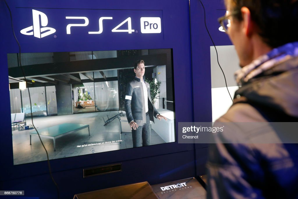 A gamer plays the video game 'Detroit : Become Human' developed by Quantic dream and published by Sony Interactive Entertainment on Sony PlayStation game consoles PS4 Pro during the 'Paris Games Week' on October 31, 2017 in Paris, France. 'Paris Games Week' is an international trade fair for video games to be held from October 31 to November 5, 2017.