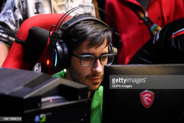 L´HOSPITALET BARCELONA SPAIN A gamer seen playing online during the Barcelona Games World Fair