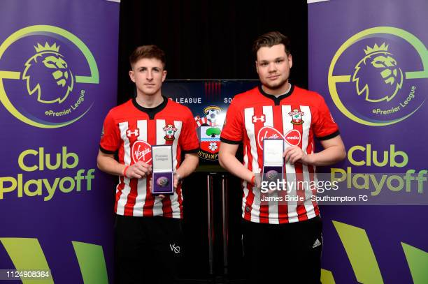 Gamer Tag 'LP Rusher X ' winner of the Xbox tournament with gamer tag 'Venn', winner of the PS4 Tournament for Southampton FC pictured for the...