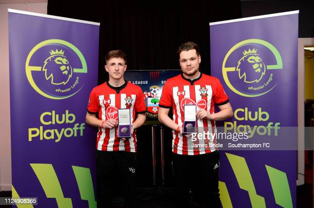 Gamer Tag 'LP Rusher X ' winner of the Xbox tournament with gamer tag 'Venn' winner of the PS4 Tournament for Southampton FC pictured for the...