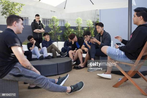Gamers attend a team meeting at the Immortals Los Angeles Valiant training facility the first standalone training facility for esports in Los Angeles...