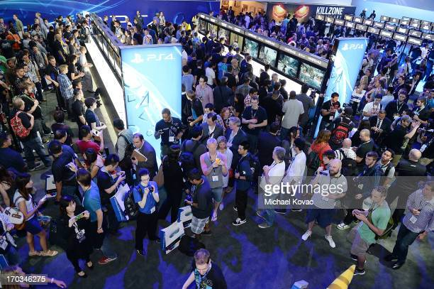 Gamers crowd the Sony Playstation 4 section at the 2013 E3 Electronic Entertainment Expo at Los Angeles Convention Center on June 11 2013 in Los...