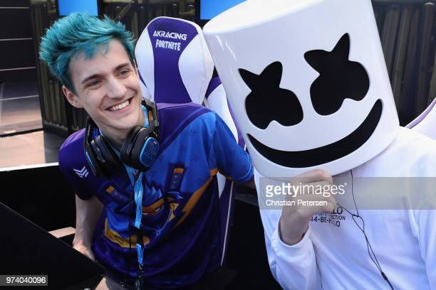 Gamers 'Ninja' and 'Marshmello' pose together during the Epic Games Fortnite E3 Tournament at the Banc of California Stadium on June 12 2018 in Los...