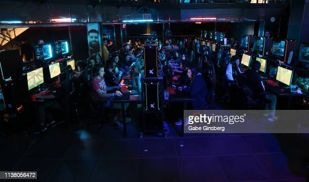 Gamers participate in the Fortnite Duos tournament during the debut of Allied Esports' PlayTime With KittyPlays esports variety show at HyperX...
