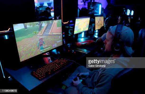 Gamers play Fortnite before the debut of Allied Esports' PlayTime With KittyPlays esports variety show at HyperX Esports Arena Las Vegas at Luxor...