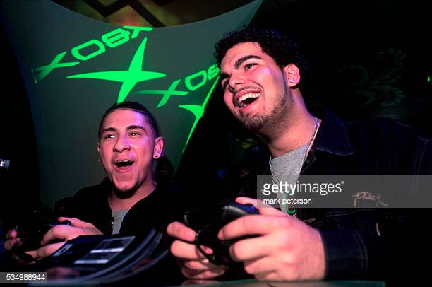 Gamers play Microsoft's new game XBox at the Metronome restaurant in Manhattan Photo by Mark Peterson/Corbis SABA