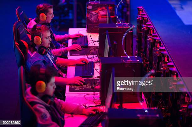 Gamers play video games on laptop computers at the Dreamhack digital festival in Moscow Russia on Saturday Dec 5 2015 Dreamhack is the world's...