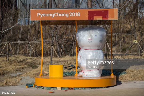 A games mascot awaits unwrapping in the Gangneung Coastal Cluster one of the venues for the Pyeongchang 2018 Winter Olympic Games on February 1 2018...