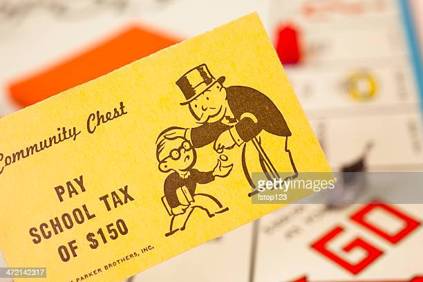 Games: Monopoly board game. 'Pay School Tax' community chest card.