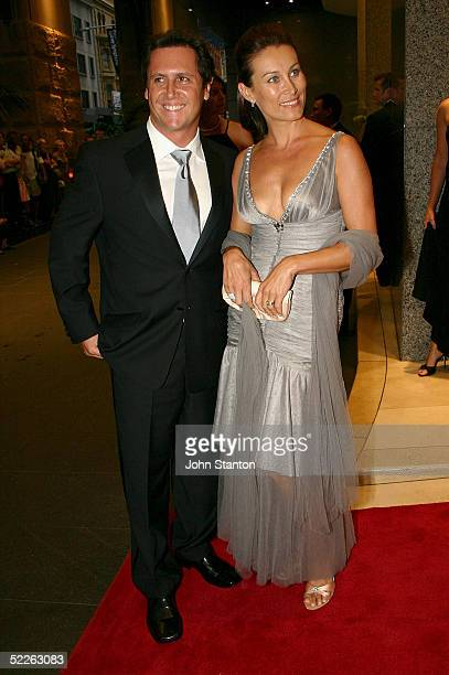 Games show host Larry Emdur and wife attend the Australian Red Cross 90th Anniversary Gala at the Westin Hotel March 2 2005 in Sydney Australia