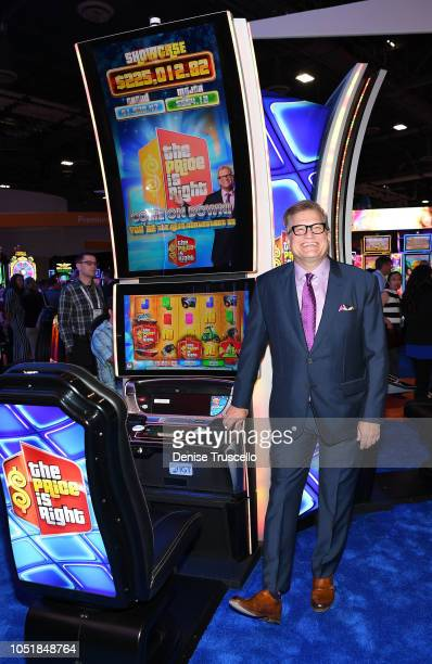 Gameshow host Drew Carey celebrates the world debut of three The Price is Right slot games by International Game Technology at the Global Gaming Expo...