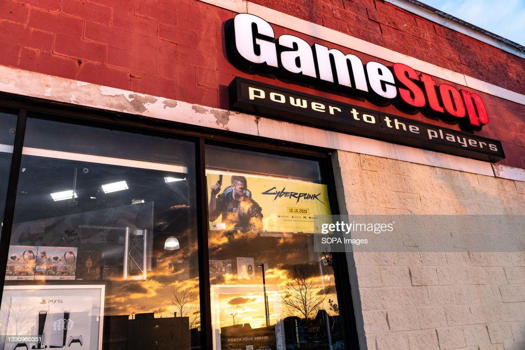 GameStop logo is seen at one of their stores in Athens. : News Photo
