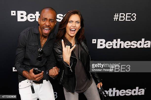Gaming editor Malik Forte and host of Nerdist News Jessica Chobot pose for a photograph as they arrives to the Bethesda E3 2015 press conference at...