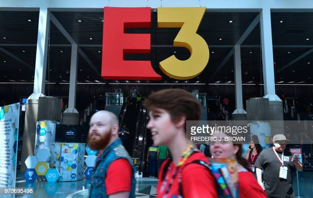 Gaming fans attend the 24th Electronic Expo or E3 2018 in Los Angeles California on June 13 where hardware manufacturers software developers and the...